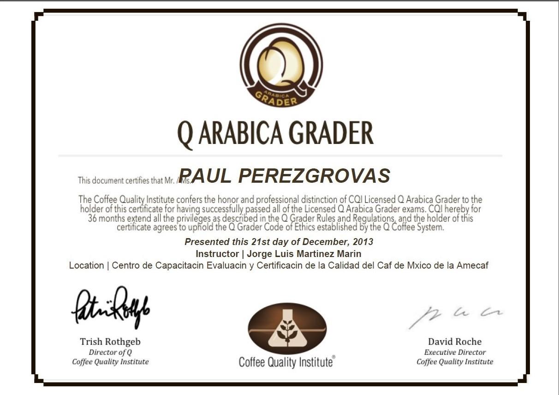 Q Grader certificate
